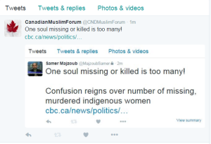 tweet on missing women CMF