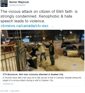 tweet on the attack on the sikh in quebec city